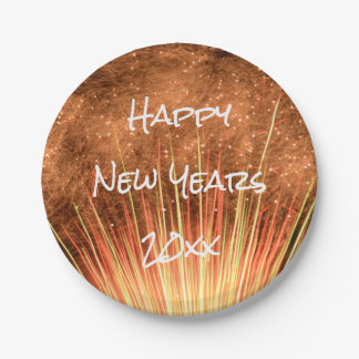 Happy New Years 20xx Fireworks Paper Plate