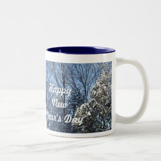 Happy New Year's Day-Snow Covered Trees Two-Tone Mug
