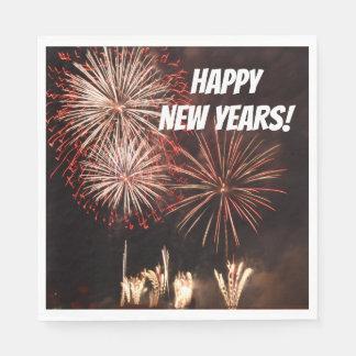 Happy New Years Fireworks Paper Serviettes