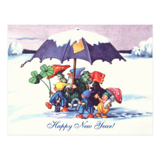 Happy New Year's Gnomes Postcard