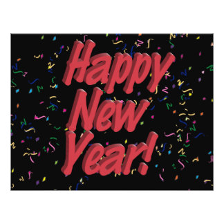 Happy New Years Red Marker Text Flyer Design