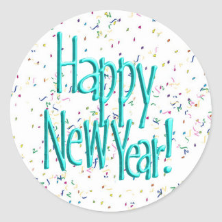 Happy New Years Text Turquoise Classic Round Sticker