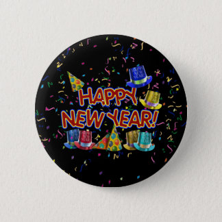 Happy New Years Text w/Party Hats & Confetti 6 Cm Round Badge