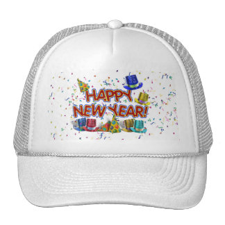 Happy New Years Text w/Party Hats & Confetti Hats