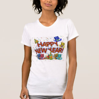 Happy New Years Text w/Party Hats & Confetti T-Shirt