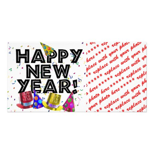 Happy New Year's Text with Confetti Photo Greeting Card