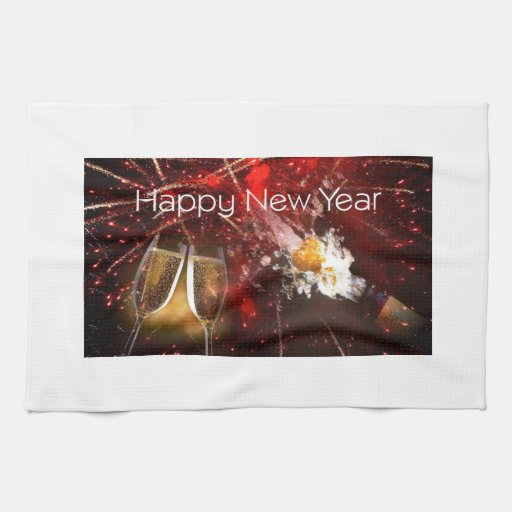 Happy New Year's Toast Kitchen Towel