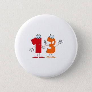 Happy Number 13 6 Cm Round Badge
