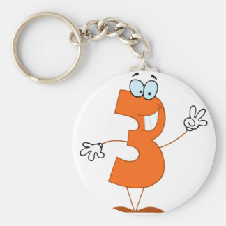 Happy Number 3 Key Ring