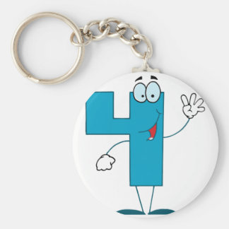 Happy Number 4 Basic Round Button Key Ring