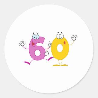 Happy Number 60 Round Sticker
