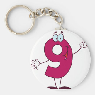 Happy Number 9 Key Ring