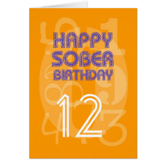 Happy Numbered Sober Birthday Card