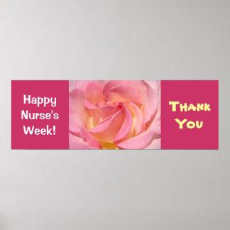 Happy Nurse s Week Banner Poster Pink Rose Thanks
