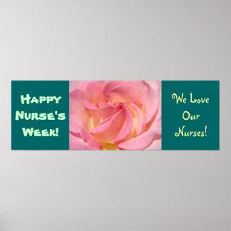 Happy Nurse s Week Banner Poster Prints Rose Teal