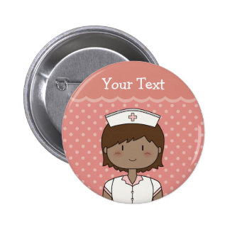 Happy nurse with short dark hair 6 cm round badge