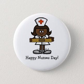 Happy Nurses Day Button - Female Brown Nurse