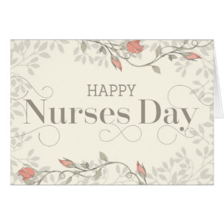 Happy Nurses Day Card - Swirly Text and Flowers