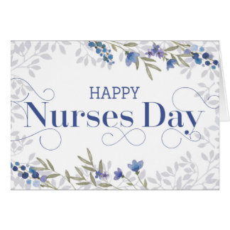 Happy Nurses Day - Swirly Text and Flowers - Blue Card