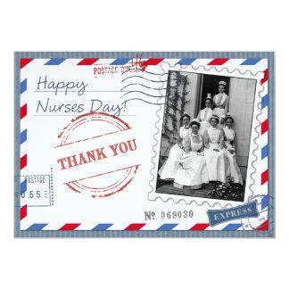 Happy Nurses Day. Vintage Design Flat Cards 13 Cm X 18 Cm Invitation Card