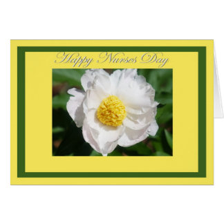 Happy Nurses Day White Peony Flower Card