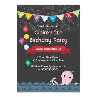 Happy Octopus Starry Night Birthday Invitations