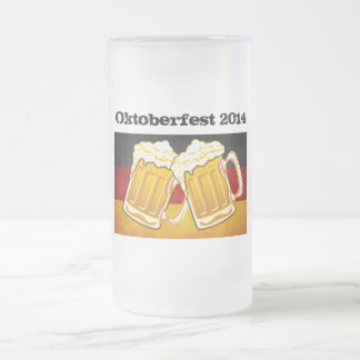 Happy Oktoberfest - Deutschland Germany Flag Beer 16 Oz Frosted Glass Beer Mug
