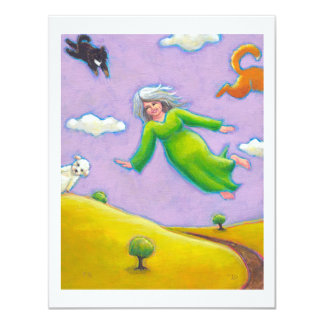 "Happy old woman flying with her dogs fun art 4.25"" x 5.5"" invitation card"