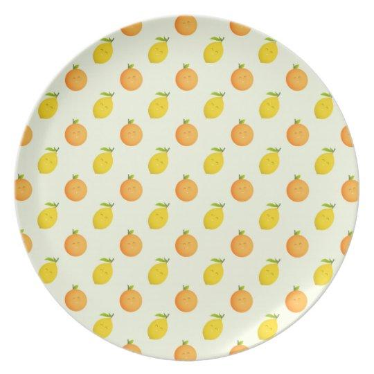 Happy Orange and Lemon Pattern Summer Plate