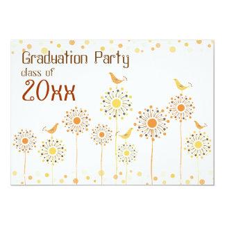 Happy Orange Birds Graduation Party Invitation