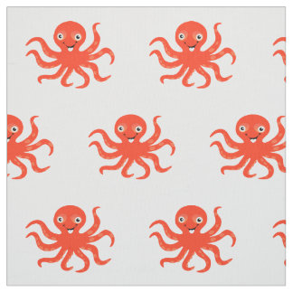 Happy Orange Cartoon Octopus Fabric
