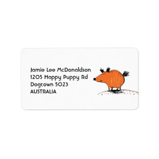Happy Orange Dog Address Labels