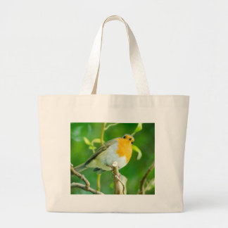Happy Orange Robin with Funny Eyes in Leafy Tree Tote Bags