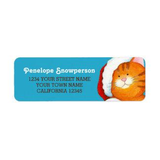 Happy Orange Tabby Cat in a Santa Hat Return Address Label