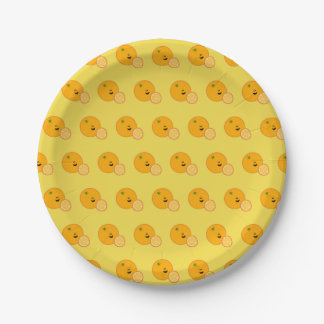 Happy Orange with Slices Breakfast Paper Plate