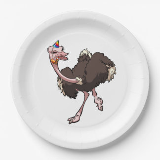 Happy Ostrich Dancing in Party Hat Cartoon Paper Plate