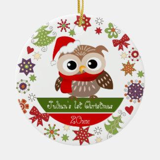 Happy Owl 1st Christmas Ornament