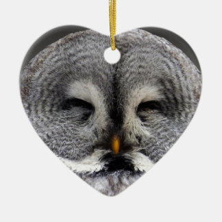 Happy Owl Ceramic Heart Decoration