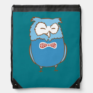 Happy owl drawstring bag