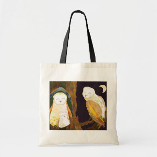 Happy Owl Family Budget Tote Bag