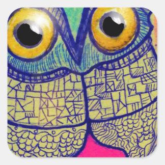 Happy Owl Square Sticker
