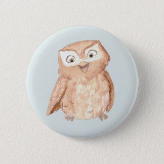 Happy Owl Watercolor 6 Cm Round Badge