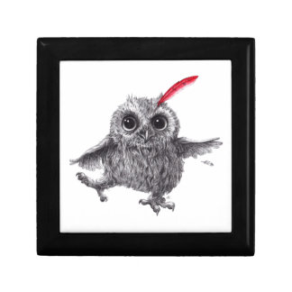 Happy Owl with talk Feather Gift Box
