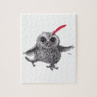 Happy Owl with talk Feather Jigsaw Puzzle
