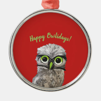 Happy Owlidays Holiday Owl Whimsical Art Christmas Ornament