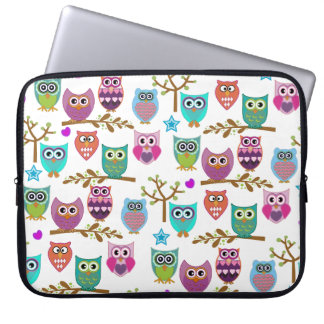 happy owls laptop sleeve