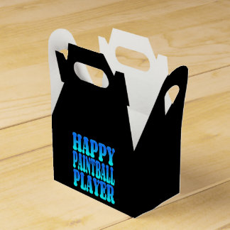 Happy Paintball Player in Blue Wedding Favour Boxes
