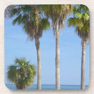 happy palm trees on sandy beach drink coaster