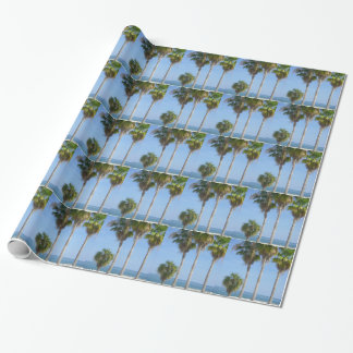 happy palm trees on sandy beach wrapping paper