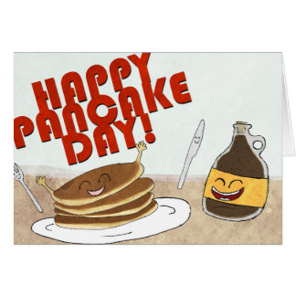 Happy Pancake Day! Cartoon design. Card